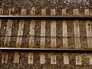 A Straightforward View from Above of Standard Railroad Tracks by Stephen St. John