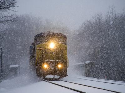 A Train Pushes Through Thick Falling Snow During 'Blizzard of 2010' by Stephen St^ John