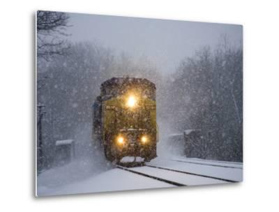 A Train Pushes Through Thick Falling Snow During 'Blizzard of 2010'