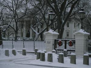 Christmas Wreaths Add a Touch of Color to Snow-Covered White House by Stephen St^ John