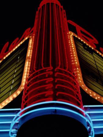 Colorful Neon Centerpiece on the Art Deco Facade a Theater by Stephen St. John
