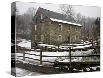 Falling Snow Coats Historic Old Pierce Mill