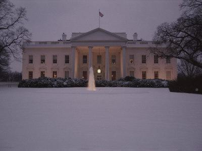 Fresh-Fallen Snow Brightens the Lawn of the White House
