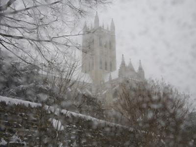 Heavy Falling Snow Blankets the Cathedral During 'Blizzard of 2010'