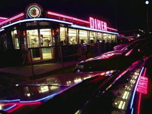 Late-Night View of the Bright Neon of the Roadside Diner by Stephen St. John