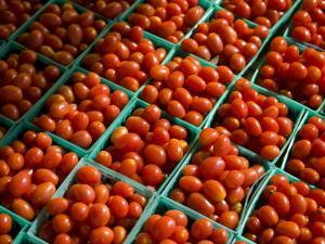 Little Crates of Grape Tomatoes Brighten a Roadside Stand by Stephen St. John