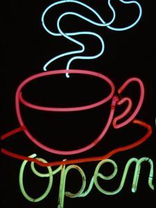 """Neon Steaming Coffee Cup and the Word """"Open"""" by Stephen St. John"""