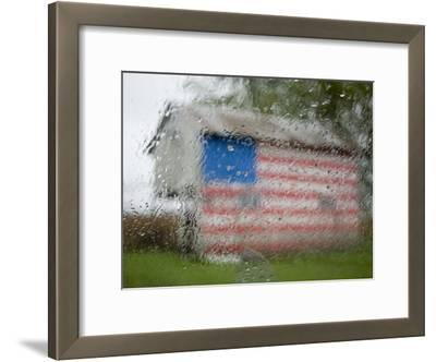 Raindrops on a Window Diffuse American Flag Painted on Shed, Dover, Delaware