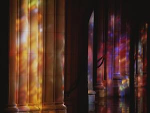 Rich Color Projected from Stained Glass Windows onto Columns by Stephen St^ John