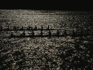 Silhouetted Rowers Propel Racing Sculls on a Sparkling Potomac River by Stephen St. John