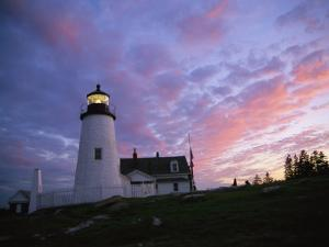 Sunset Tints the Sky Behind the Pemaquid Lighthouse by Stephen St. John