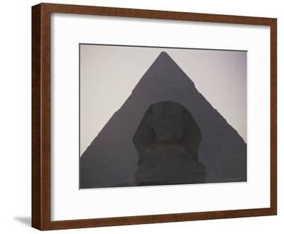 The Great Sphinx is Framed by the Distant Chephren Pyramid