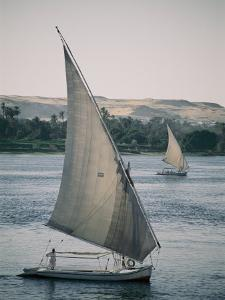 Twin Feluccas Move in Unison on the Nile Near Luxor by Stephen St. John