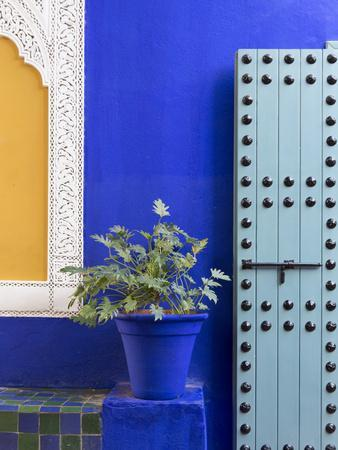 Blue Paintwork, Jardin Majorelle, Owned by Yves St. Laurent, Marrakech, Morocco
