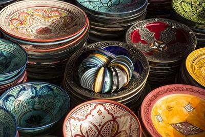 Colourful Bowls in the Old Souk, Old Medina, Marrakesh (Marrakech), Morocco, North Africa