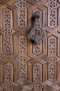 Detail of Old Ornately Carved Wooden Door, Medina, Marrakesh, Morocco, North Africa, Africa by Stephen Studd