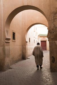 Man Walking Down Narrow Alley by Ali Ben Youssef Medersa, North Africa by Stephen Studd