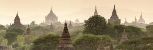 Temples and Stupas at Dawn Sunrise in the Archaeological Site, Bagan (Pagan), Myanmar (Burma) by Stephen Studd