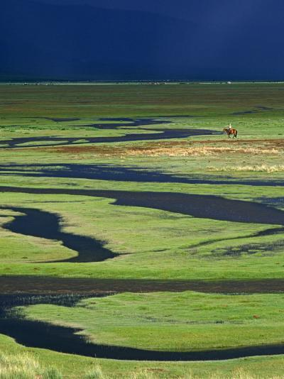 Steppeland, A Lone Horse Herder Out on the Steppeland, Mongolia-Paul Harris-Photographic Print