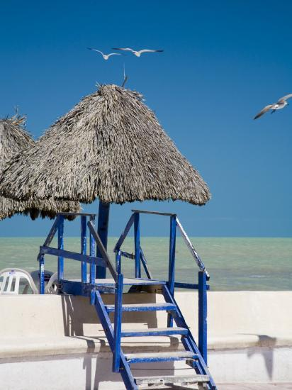 Steps Leading over the Seaside Boulevard, Progreso, Yucatan, Mexico  Photographic Print by Julie Eggers | Art com