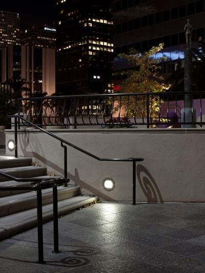 Steps of a Building at Night, US Bank Tower, Los Angeles, California, USA--Photographic Print
