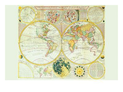 Stereographic Map of the Earth & the Moon-Samuel Dunn-Art Print