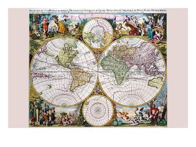 Stereographic Map of the World with Classical Illustration-Gerard Valk-Art Print