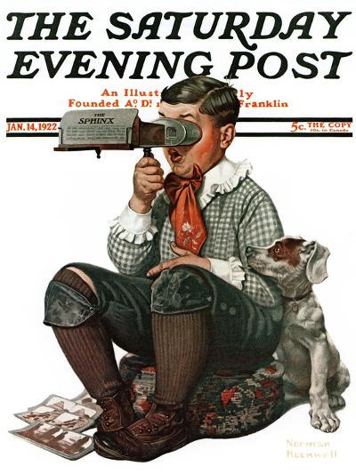 """Stereopticon"" or ""Sphinx"" Saturday Evening Post Cover, January 14,1922-Norman Rockwell-Giclee Print"