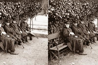 Stereoscopic View of Invalids in a Square, Paris, 1890--Photographic Print