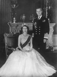 HM Queen Elizabeth II and Hrh Duke of Edinburgh at Buckingham Palace, 12th March 1953 by Sterling Henry Nahum Baron