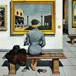 """Art Lover"", March 3, 1956 by Stevan Dohanos"