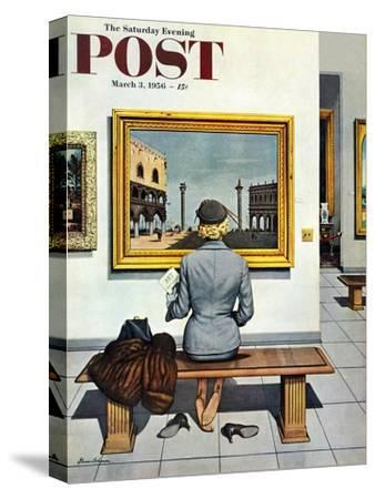 """Art Lover"" Saturday Evening Post Cover, March 3, 1956"