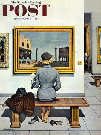 """Art Lover"" Saturday Evening Post Cover, March 3, 1956 by Stevan Dohanos"
