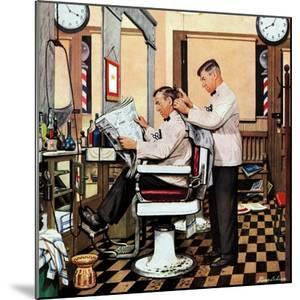 """Barber Getting Haircut,"" January 26, 1946 by Stevan Dohanos"