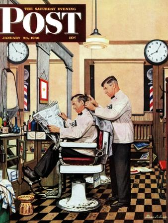 """Barber Getting Haircut,"" Saturday Evening Post Cover, January 26, 1946"