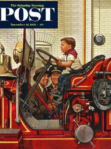 """Boy on Fire Truck"" Saturday Evening Post Cover, November 14, 1953 by Stevan Dohanos"