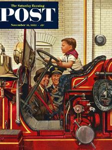 """""""Boy on Fire Truck"""" Saturday Evening Post Cover, November 14, 1953 by Stevan Dohanos"""
