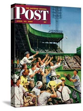 """""""Catching Home Run Ball"""" Saturday Evening Post Cover, April 22, 1950"""