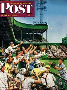 """""""Catching Home Run Ball"""" Saturday Evening Post Cover, April 22, 1950 by Stevan Dohanos"""