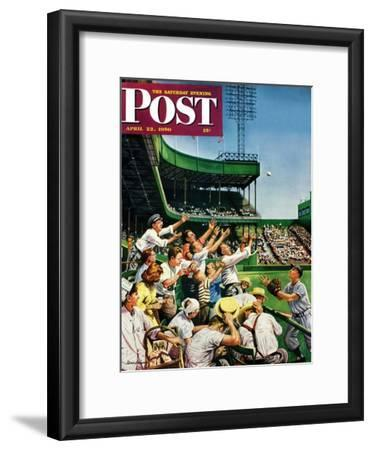 """Catching Home Run Ball"" Saturday Evening Post Cover, April 22, 1950"