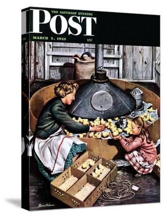 """Chicks in Incubator,"" Saturday Evening Post Cover, March 5, 1949"