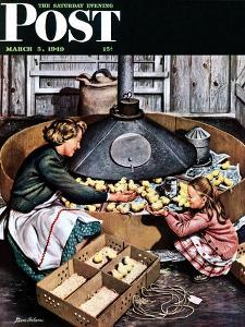 """""""Chicks in Incubator,"""" Saturday Evening Post Cover, March 5, 1949 by Stevan Dohanos"""