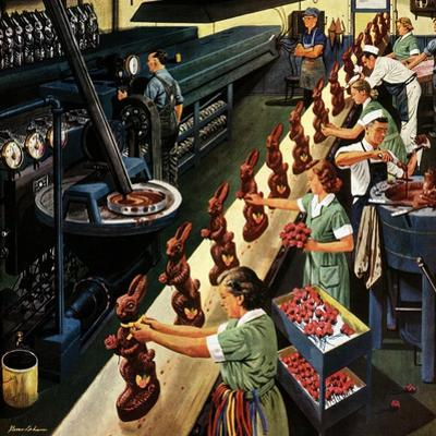 """Chocolate Easter Bunnies"", March 25, 1950 by Stevan Dohanos"