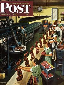 """Chocolate Easter Bunnies"" Saturday Evening Post Cover, March 25, 1950 by Stevan Dohanos"