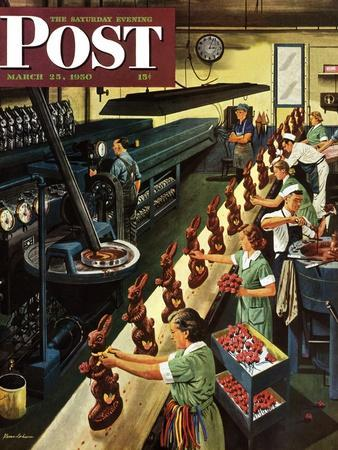 """""""Chocolate Easter Bunnies"""" Saturday Evening Post Cover, March 25, 1950"""