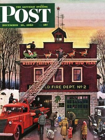 """""""Christmas at the Fire Station"""" Saturday Evening Post Cover, December 16, 1950"""