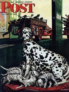 """Dalmatian and Pups,"" Saturday Evening Post Cover, January 13, 1945 by Stevan Dohanos"