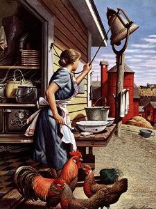 """""""Dinner Bell,"""" October 21, 1944 by Stevan Dohanos"""
