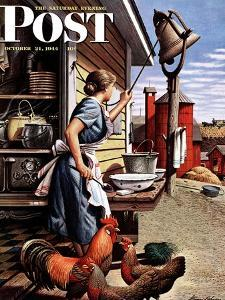 """Dinner Bell,"" Saturday Evening Post Cover, October 21, 1944 by Stevan Dohanos"