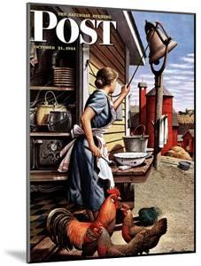 """Dinner Bell,"" Saturday Evening Post Cover, October 21, 1944 by Stevan Dohanos"